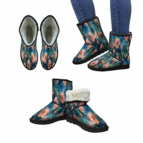 InterestPrint Womens Snow Boots Watercolor Orange Blooming Roses and Rose Hips Unique Designed Comfort Winter Boots Multi 1 yli5HUzKz