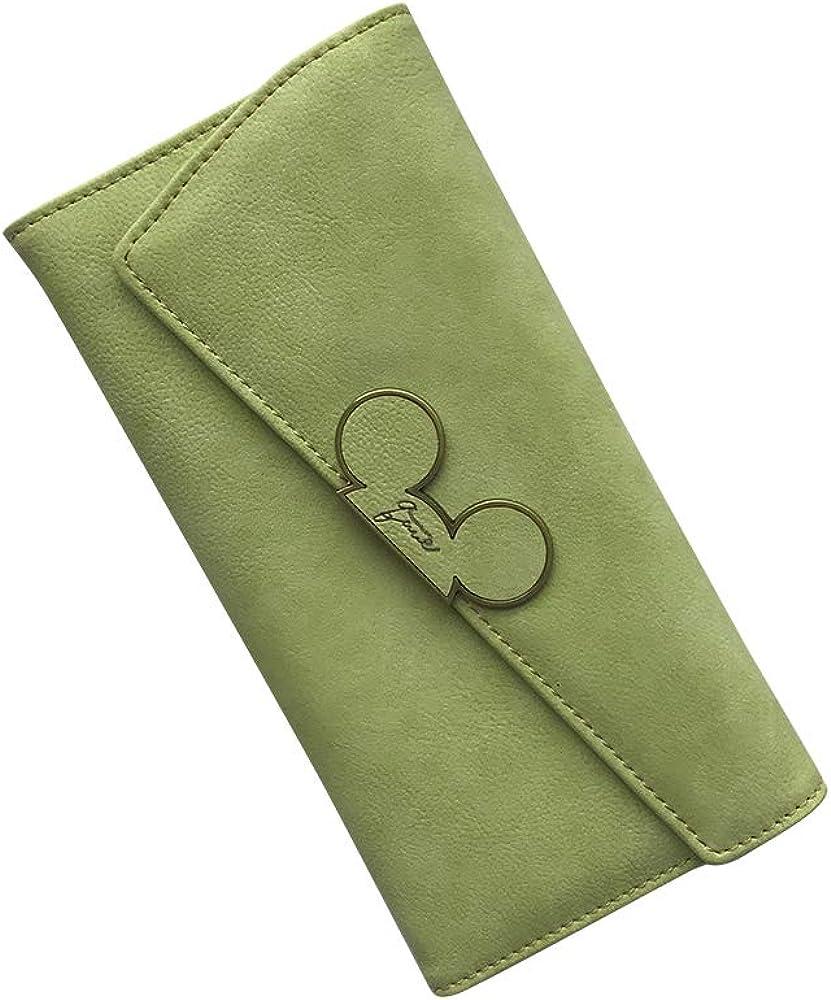 HEMALL 1pcs Color Scrubs Women Wallet Ladies Long Swash-lid Tri-fold Mickey Head Purse Slim Phone Coin Pocket Wallets