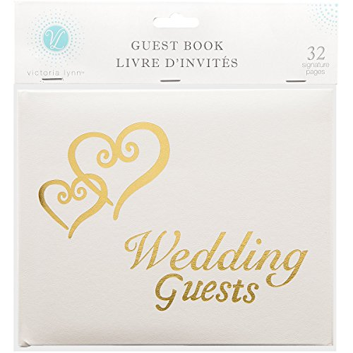 Linked Hearts Wedding Guest Book Gold