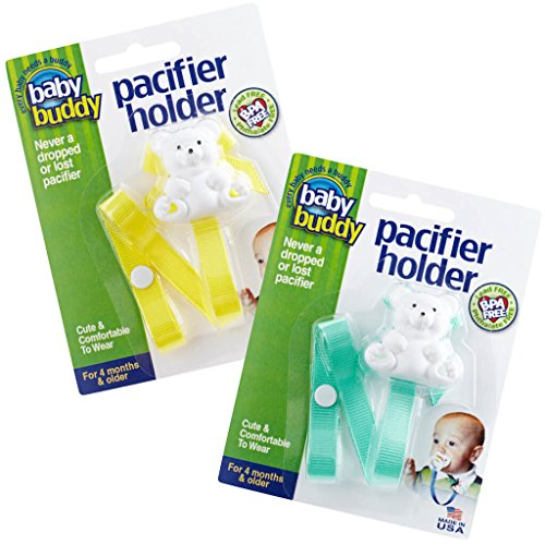 - Baby Buddy 2 Piece Unisex Pacifier Holder Clip, Yellow/Mint Green, 4 Months and Up