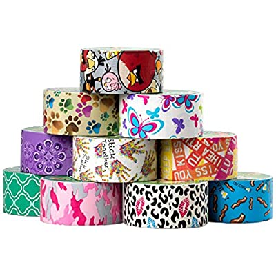 10 Rolls Printed Duck Brand Duct Tape Bulk Lot Patterns Arts Crafts DIY Projects 60yds Bacon Pink