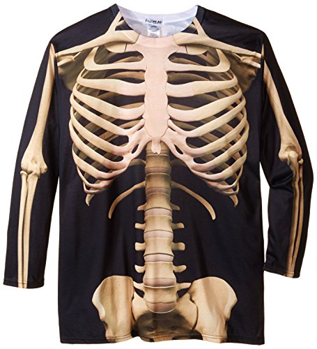 Faux Real Men's Big-Tall Big Size Skeleton, Big Size Long Sleeve T-Shirt, Multi, 3X-Large/Big
