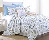 Byron Bay Exotic Seaglass Colorful Blues and Green Tropical Fish Island Seashells Coastal Ocean Life on White Quilt Set with Matching Shams - Queen
