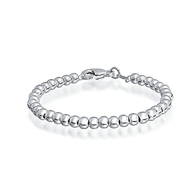 aced2b23ecb1b Tiny Simple Basic Round 925 Sterling Silver Bead Ball Strand Bracelet For  Teen Small Wrist 4MM