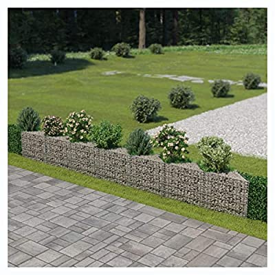 "HomyDelight Fence Panel, Gabion Wall Galvanized Steel 177.2""x11.8""x19.7"""