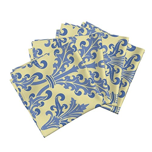 (Roostery Provincial Linen Cotton Dinner Napkins French Yellow Butter Blue Wallpaper by Peacoquettedesigns Set of 4 Dinner Napkins)