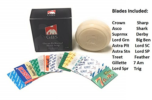 18 Feather, Astra, Derby, Bic, Super Max, Lord Sampler Blades - Plus Gbs 3 Oz Ocean Driftwood Shave Soap