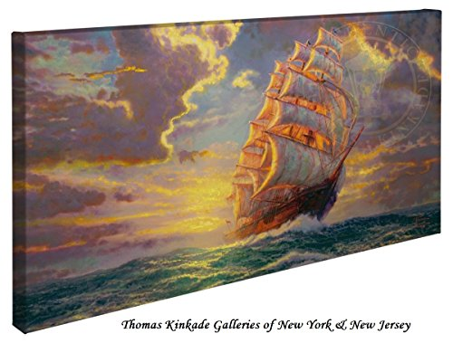 Courageous Voyage - Thomas Kinkade Seascapes 16'' x 31'' Gallery Wrapped Canvas by Thomas Kinkade wrapped canvas