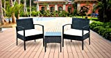 IDS Home Outdoor Patio Garden 3-Piece Black Rattan Wicker Furniture Sofa Set with White Cushioned Review
