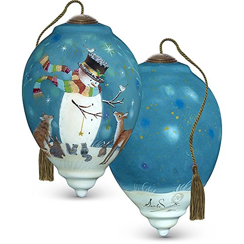 Snowman Hand Painted Ornaments - Ne'Qwa Precious Moments, Art 7171131 Hand Painted Blown Glass Standard Princess Shaped Snowman and Friends Ornament, 5.5-inches