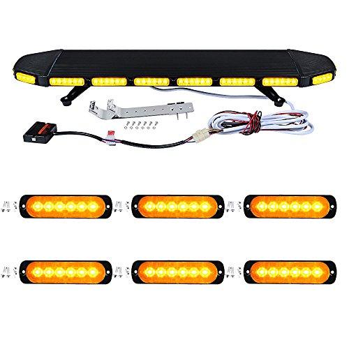 Set AMBER 1pc 41 Inch 96-LED 288W 360-degree flashing + 6pcs 6-LED 18W Car Truck SnowPlow Emergency Warning Beacon Construction Flash Strobe Light Bar