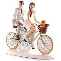Figuras GRABADAS de boda novios bicicleta para tarta