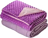 5lb Weighted Blanket with Dot Minky Cover for Kids 40-60lb individual.Help Children with Sleep Issues Anxiety Autism Stress (Inner Light Violet/Cover Violet & Pink, 36''x48'' 5 lbs)