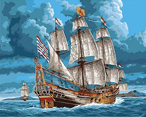 by Numbers for Adults Beginner Kids, Sea Ship Sailboat Clouds 16x20 inch Linen Canvas Acrylic Stress Less Number Painting Gifts (Ship, with Frame) ()