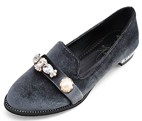 Women's Round Toe Flat Loafers Casual Shoes with Rhinestone Grey - 2