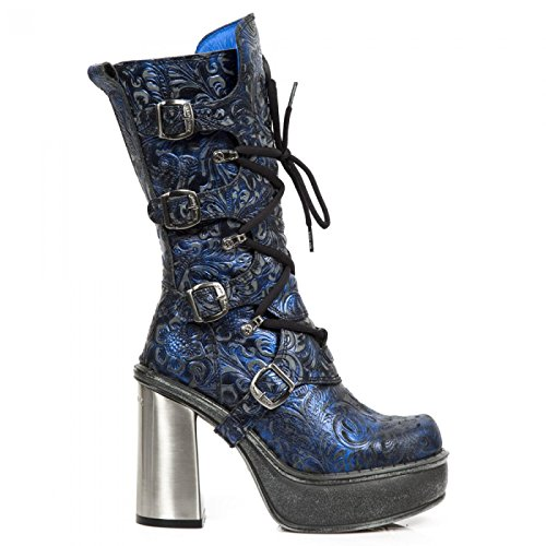 Nuovi Stivali Di Roccia M.9973-c4 Hardrock Gothic Punk Damen Schnürstiefel Blau