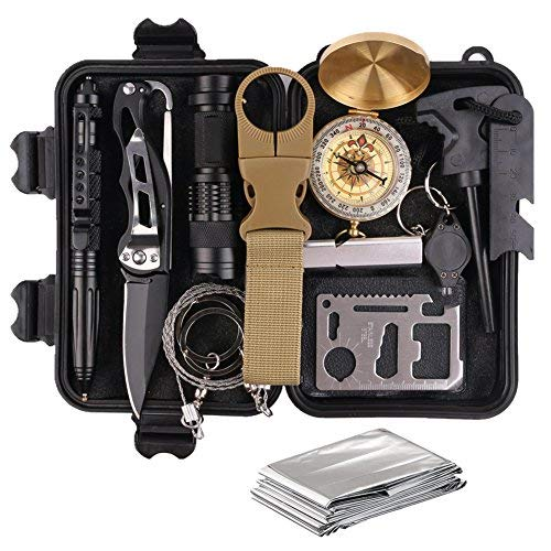 (Survival Gear Kits 13 in 1- Outdoor Emergency SOS Survive Tool for Wilderness/Trip/Cars/Hiking/Camping gear - Wire Saw, Emergency Blanket, Flashlight, Tactical Pen, Water Bottle Clip ect,)