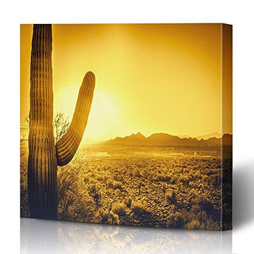 Ahawoso Canvas Prints Wall Art 16x16 Inches Parks Orange Phoenix Epic Desert Sunset Over Valley Cacti Sun Arizona Tempe Scottsdale Cactus Heat Sky Decor for Living Room Office Bedroom (Scottsdale Furniture Az)
