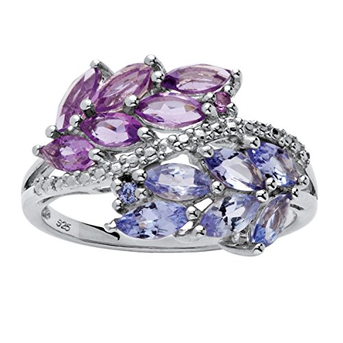 Marquise Leaf - Marquise-Cut Genuine Purple Amethyst and Tanzanite .925 Sterling Silver Leaf Motif Ring