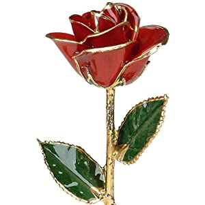 Red Laquered 24k Gold Dipped Long Stem Genuine Rose In Gift Box 36