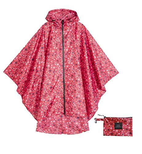 Womens Rain Poncho Waterproof Raincoat with Hood Zipper Outdoor Hiking Biking (red Star)]()