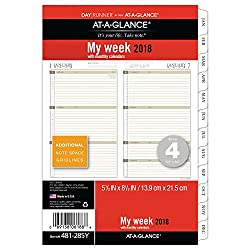 """At-a-glance Day Runner Weekly Monthly Planner Refill, January 2018 - December 2018, 5-12"""" X 8-12"""", Loose Leaf, Size 4 (481-285y)"""