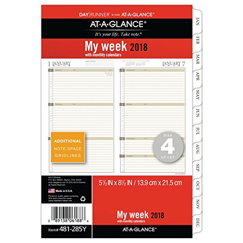 "AT-A-GLANCE Day Runner Weekly / Monthly Planner Refill, January 2018 - December 2018, 5-1/2"" x 8-1/2"", Loose Leaf, Size 4 (481-285Y)"