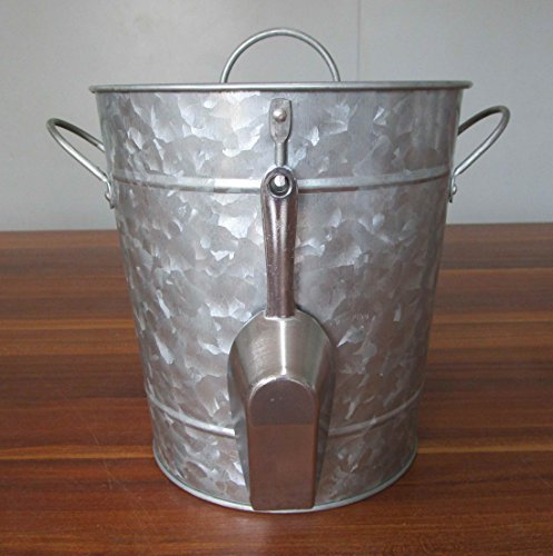 Galvanized Metal Ice Bucket and Scoop - Steel Construction - Plastic Insert - Lid Included - Bonus Chalkboard Labels and Marker by LifeSmart