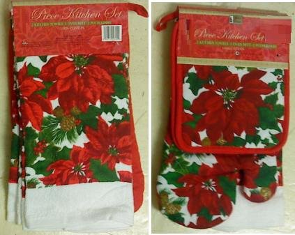 Pinecone Oven Mitt - 5-pc Kitchen Set Towels Pot Holders Oven Mitt Poinsettia and Pine Cone