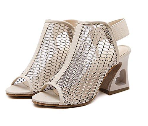Aisun Damen Sexy Peep Toe Transparent Cut Out Mesh Elastikbänder Sandale mit Blockabsatz Aprikosenfarben