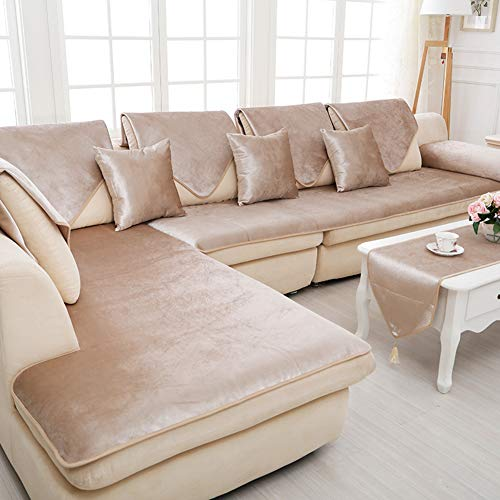 MIYAMA Velvet Sofa Cover,Thick Super Soft Slipcover Pet Furniture Protector for L-Shaped Couch Sectional-Beige 80x180cm(31x71inch) (Clearance Sofa Designer)