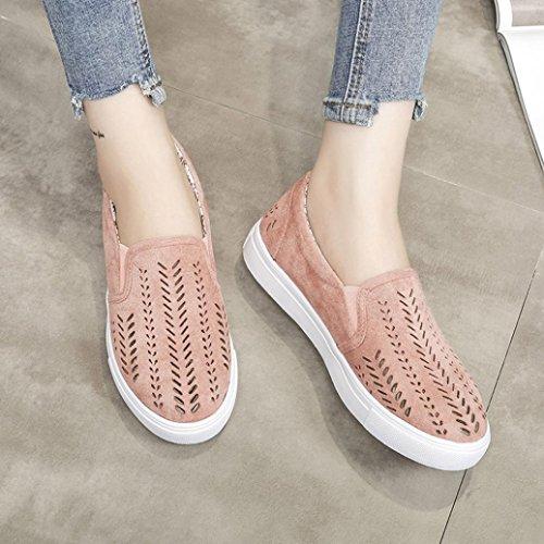 LHWY Slipper Damen Sommer Frauen Aushöhlen Schuhe Runde Zehe Plattform Flache Slip Pump Outdoor Freizeitschuhe Rosa