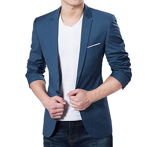 Vobaga Men's Slim Fit Casual One Button Suit Blazers Blue M by Vobaga
