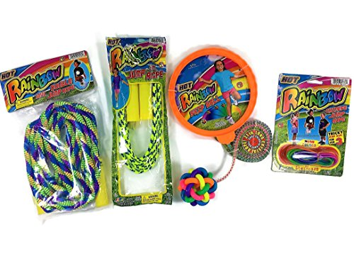 Jump Combo - Jumping Toys| kids Jump| fun and sport| Jumping Bundle Combo with 1 jump rope Aston, 1 double jump rope, 1 skip ball and 1 Chinese neon colors jump rope| Great birthday party favors| Colors may vary