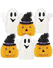 ArtCreativity Light Up Halloween Puffers, Set of 6, LED Fidget Toys for Kids and Adults, Includes Ghost and Pumpkin Halloween Toys, Non-Candy Halloween Treats and Party Favors for Themed Parties