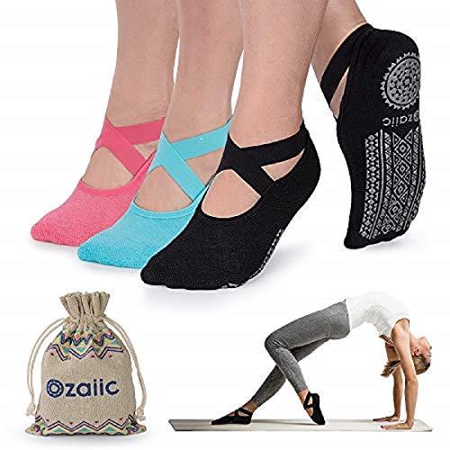 Yoga Socks for Women Non-Slip Grips & Straps, Ideal for Pilates, Pure Barre, Ballet, Dance, Barefoot Workout - Socks Ballet