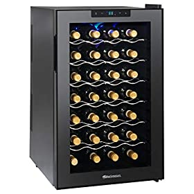 Wine Enthusiast Silent 28 Bottle Wine Refrigerator – Freestanding Touchscreen Wine Cooler, Black