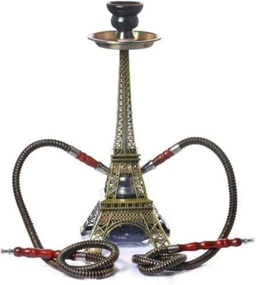 XDJ Tubería De Agua· Narguile Último Diseño Equipo para Fumar Shisha Narguile Fumando Equipo para Fumar Torre De Paris Bong Shisha Manguera Doble sobre Una Base De Agua Gisel Disfruta Fumando