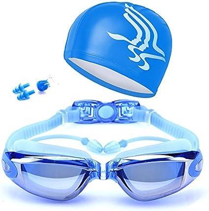Kid Children Swim Cap with Anti-fog Swim Goggles Earplugs Glasses Case Sets