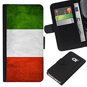 All Phone Most Case / Oferta Especial Cáscara Funda de cuero Monedero Cubierta de proteccion Caso / Wallet Case for Samsung Galaxy S6 EDGE // National Flag Nation Country Italy