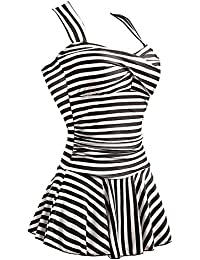 Women's One Piece Striped Slim Padded Swim Dress Bathing...