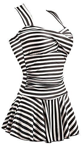 MiYang Women's One Piece Striped Slim Swim Dress Bathing Swimwear, Black, (Size tag 3XL/US size XL)