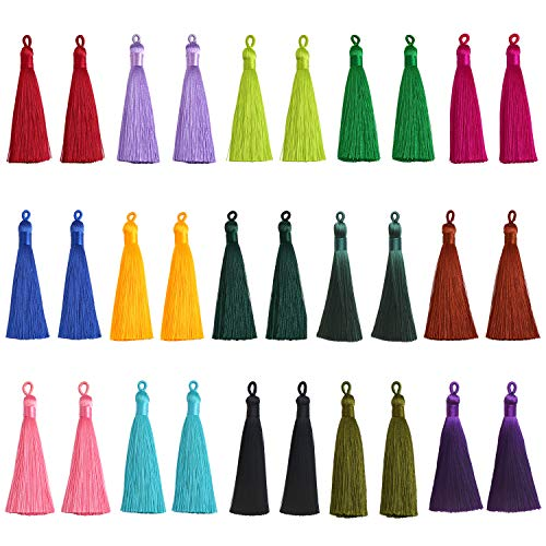 VIIRY 30pcs Tassels Mix Color Style Fashion Soft Silky Imitation Silk Tassels Fit for Jewelry Making DIY Accessories(15 Pairs)