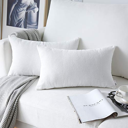 NATUS WEAVER 2 Piece Decorative Plush Waffle Weave Velvet Corduroy Oblong Pillowcase Check Accent Cushion Cover, 12 x 20 inch, White