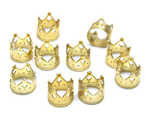 Crispy Dread Lock Dreadlocks Braiding Beads Metal CuffsTube 8mm 10pcs (1 PACK, GOLD CR1)