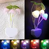 Changeshopping Romantic Colorful Sensor LED Mushroom Night Light Wall Lamp Home Decor