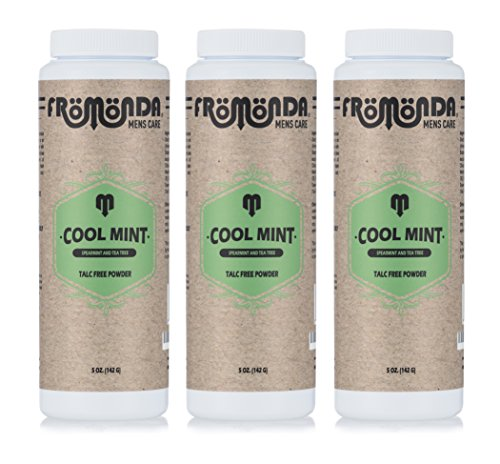 - Fromonda Cool Mint Talc Free Body Powder - All Natural Dry Deodorant With Spearmint & Tea Tree Oil Essential Oils - Pack of 3-5 OZ