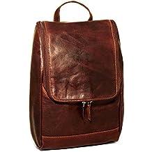 Jack Georges Voyager Fancy Leather Dopp Kit, Toiletry Bag, Travel Kit in Brown