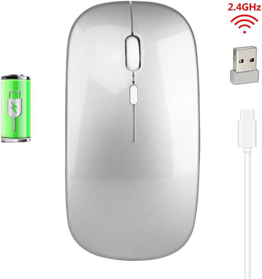 LUOLENG Ratón inalámbrico Recargable con Receptor USB, Mouse óptico Delgado y silencioso con dpi Ajustable Compatible con Notebook, PC