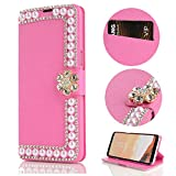 Stysen Wallet Case for iPhone 8 4.7'',Glitter Flip Case iPhone 7 4.7'',Shiny Pearl Rose Red Bookstyle Strass Flower Buckle Wallet Case Cover for iPhone 8 4.7''/7 4.7''-Flower,Rose Red